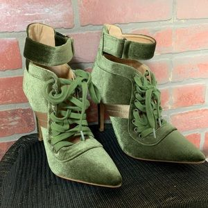Charlotte Russe velvet striped Laced up bootie
